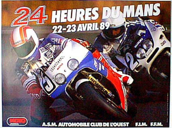 Le Mans 24 Motorcycle Race 1989 Original Vintage Motorcycle Racing Poster