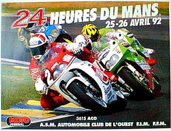 Le Mans 24 Motorcycle Race 1992 Original Vintage Motorcycle Racing Poster