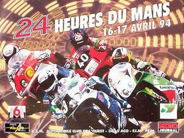 Le Mans 24 Motorcycle Race Original Vintage Motorcycle Racing Poster 1994