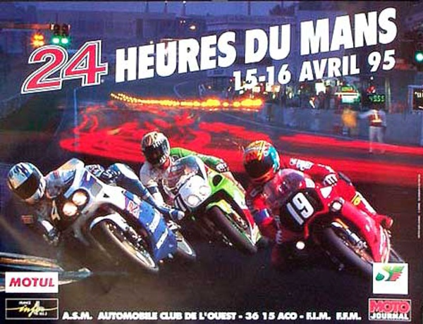 Le Mans 24 Motorcycle Race Original Vintage Motorcycle Racing Poster 1995