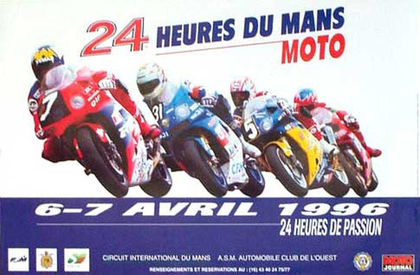 Le Mans 24 Motorcycle Race Original Vintage Motorcycle Racing Poster 1996