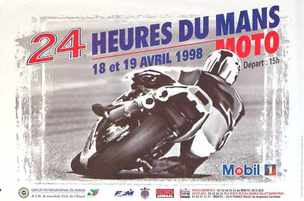 Le Mans 24 Motorcycle Race Original Vintage Motorcycle Racing Poster 1998