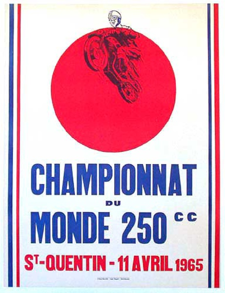1965 Motorcycle 250 CC world Championship Original Vintage Motorcycle Racing Poster