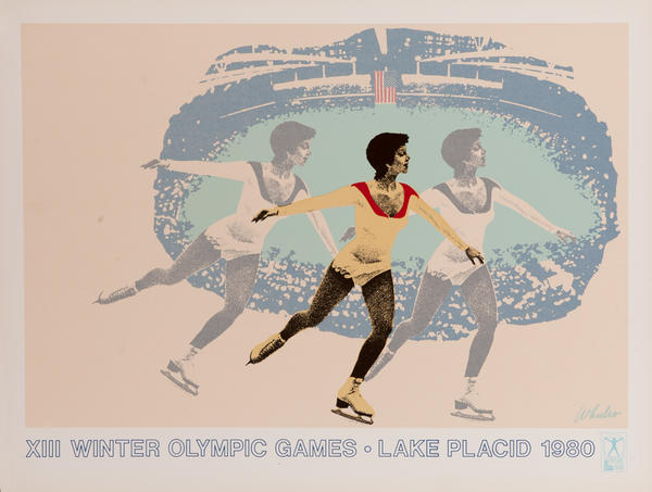 Original Vintage 1980 Lake Placid Olympics Poster Figure Skating