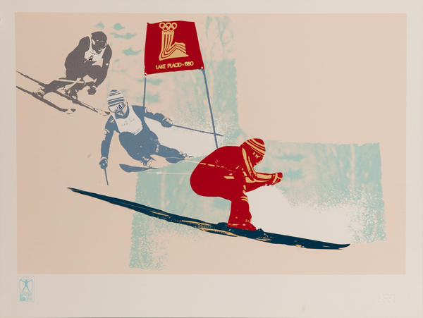 Original Vintage 1980 Lake Placid Olympics Poster Downhill Skiing