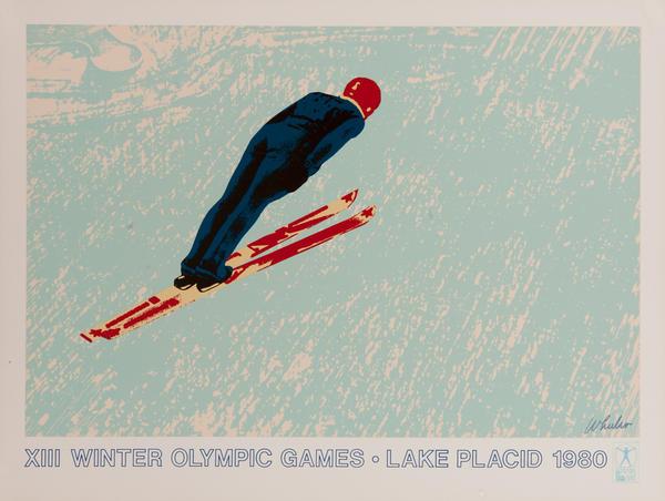 Original Vintage 1980 Lake Placid Olympics Ski Jump Poster