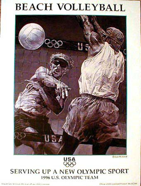 Original Vintage Olympic Poster Beach Volleyball