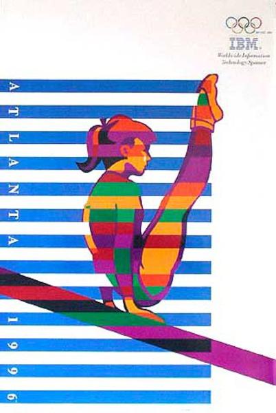 Original Vintage 1996 Atlanta Olympics Poster IBM Gymnast