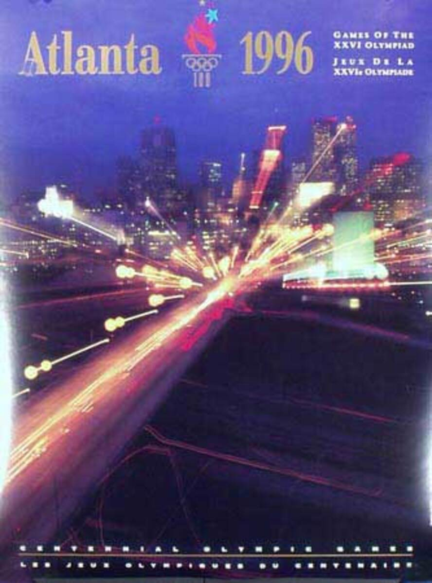 Atlanta 1996 Original Vintage Atlanta Olympics Poster zoomed photo