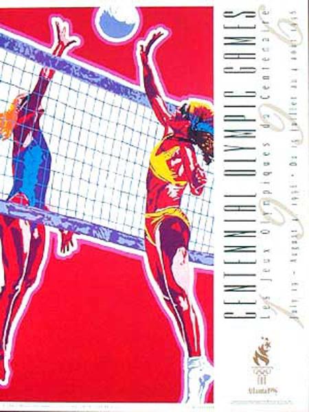 Original Vintage 1996 Atlanta Olympics Poster Beach Volleyball (Yamagata)