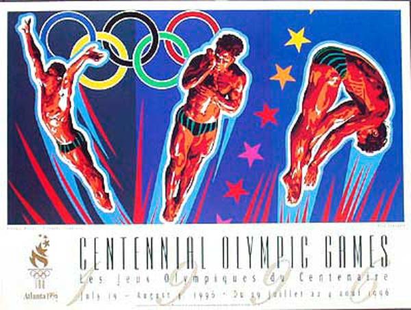 Original Vintage 1996 Atlanta Olympics Poster Diving (Yamagata)