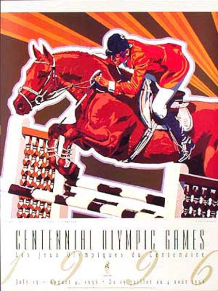 Original Vintage 1996 Atlanta Olympics Poster Equestrian  (Yamagata)