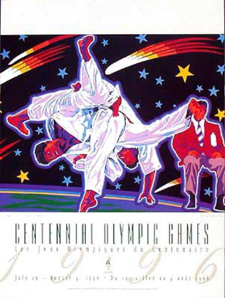 Original Vintage 1996 Atlanta Olympics Poster Judo (Yamagata)