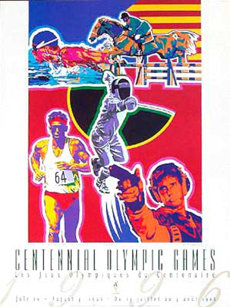 Original Vintage 1996 Atlanta Olympics Poster Modern Penathalon (Yamagata)