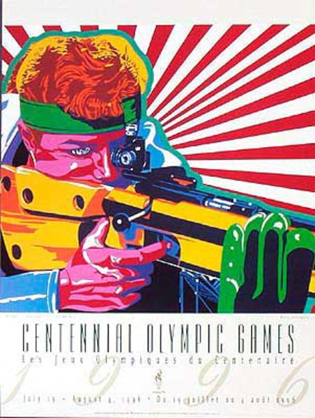 Original Vintage 1996 Atlanta Olympics Poster Shooting (Yamagata)