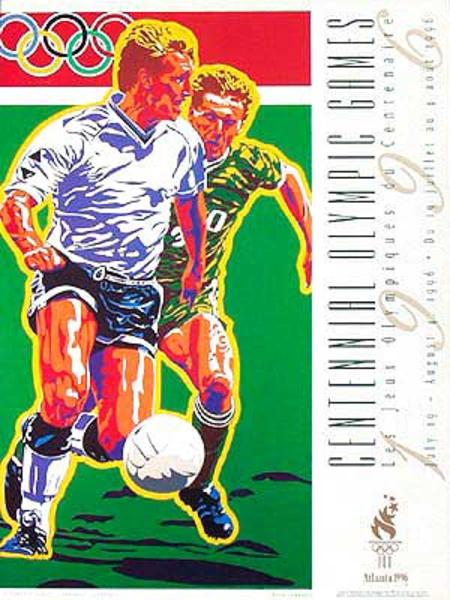 Original Vintage 1996 Atlanta Olympics Poster [[Soccer]] (Yamagata)