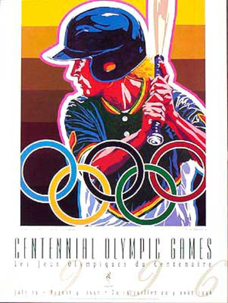 Original Vintage 1996 Atlanta Olympics Poster Softball (Yamagata)
