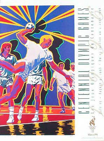 Original Vintage 1996 Atlanta Olympics Poster Team Handball (Yamagata)