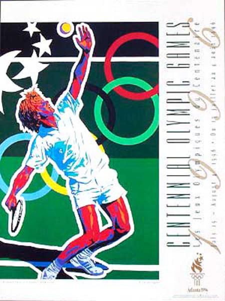 Original Vintage 1996 Atlanta Olympics Poster Tennis  (Yamagata)