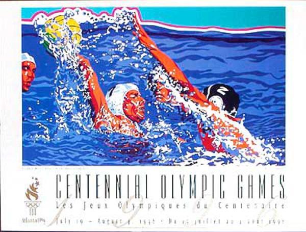 Original Vintage 1996 Atlanta Olympics Poster Water Polo (Yamagata)