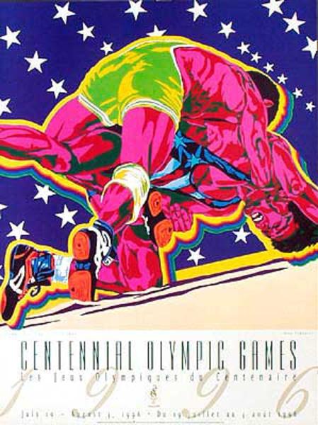 Original Vintage 1996 Atlanta Olympics Poster Wrestling (Yamagata)