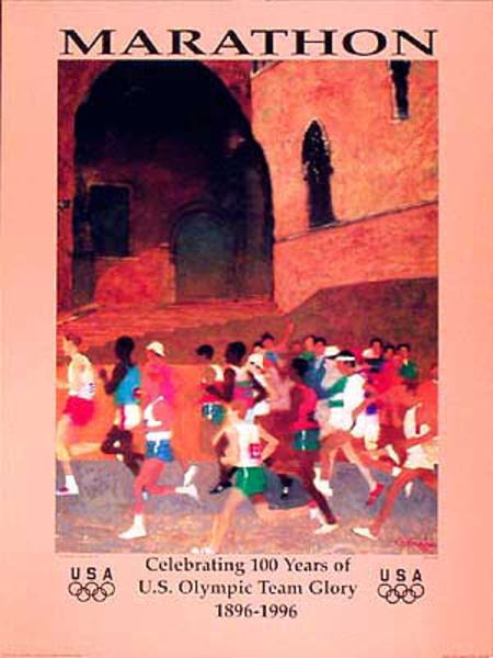 Original Vintage 1996 Atlanta Olympics Poster Marathon (English)