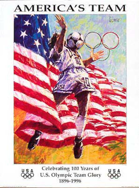 Original Vintage 1996 Atlanta Olympics Poster [[Soccer]] (Forbes)