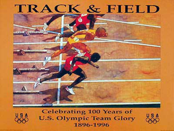 Original Vintage 1996 Atlanta Olympics Poster Track and Field (Forbes)