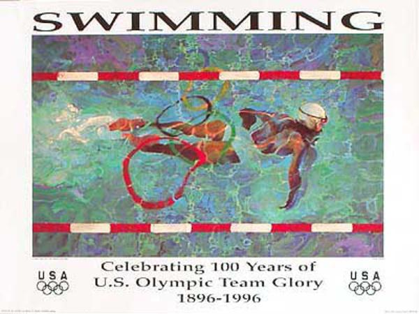 Original Vintage 1996 Atlanta Olympics Poster Swimming (Heindel)