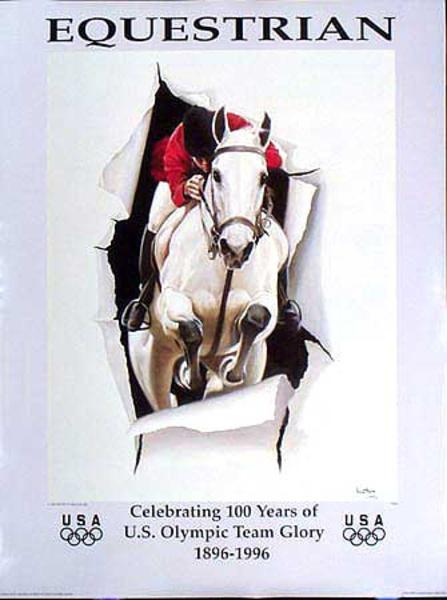 Breaking Through Original Vintage 1996 Atlanta Olympics Poster Equestrian