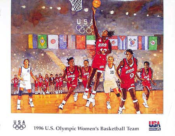 Dream Team Womens Basketball Original Vintage 1996 Atlanta Olympics Poster