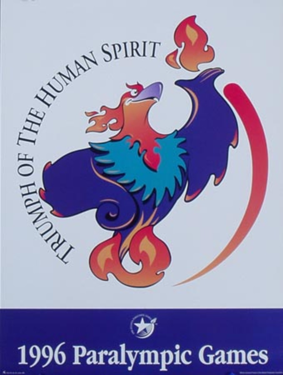 1996 Paralympics Original Vintage Sports Poster Bird Mascot