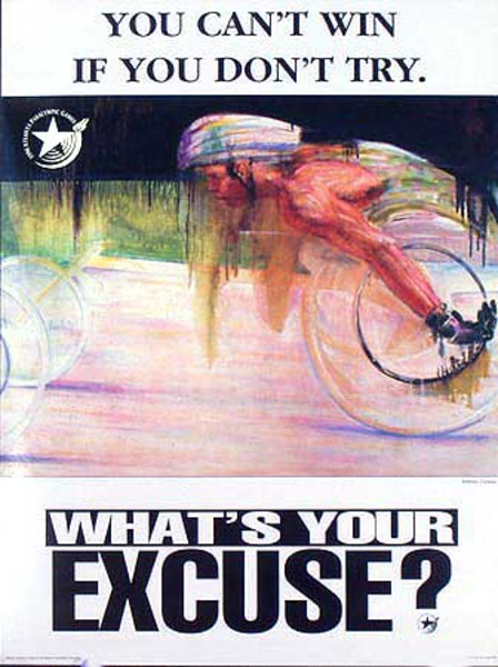 1996 Paralympics Original Vintage Sports Poster What's Your Excuse?