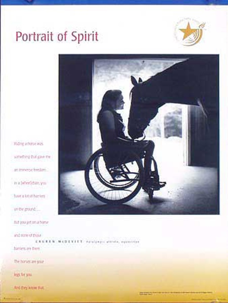 1996 Paralympics Original Vintage Sports Poster Portrait of Spirit Equestrian