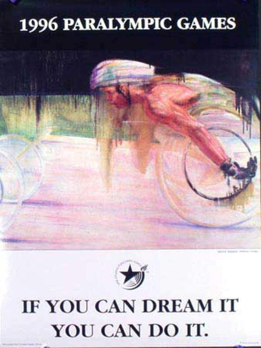 1996 Paralympics Original Vintage Sports Poster If You Can Dream It You Can Do It