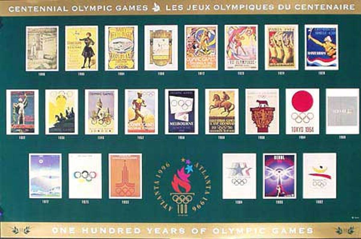 100 Years of Olympic Games poster of posters Original 1996 Atlanta Olympics Poster