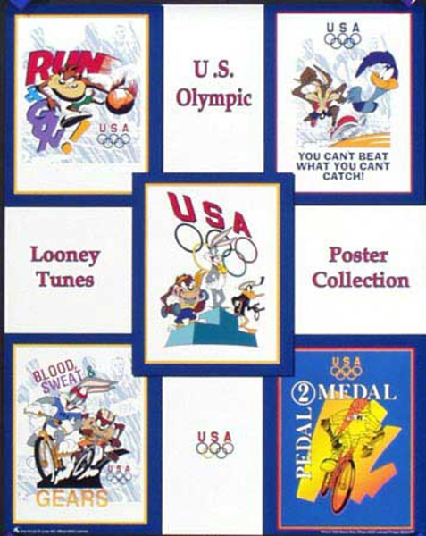 Looney Toons Poster Collection Original Vintage 1996 Atlanta Olympics Poster