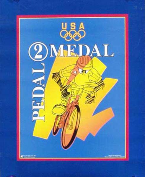 Daffy Duck Pedal 2 Medal Original Vintage 1996 Atlanta Olympics Poster