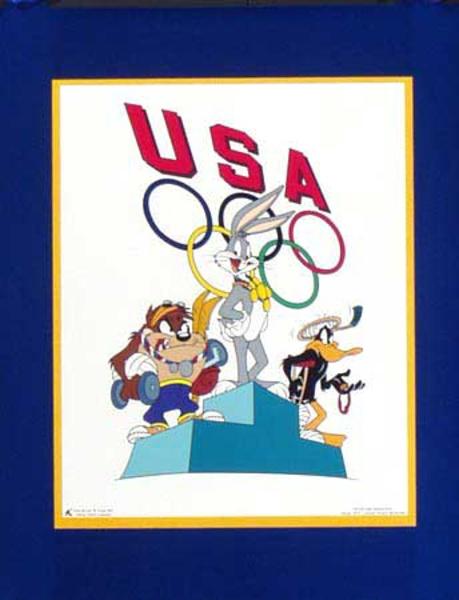 Bugs Bunny Daffy Duck Tasmanian Devil Original Vintage 1996 Atlanta Olympics Poster USA medal ceremony