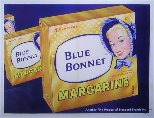 Blue Bonnet Margarine Original Vintage Advertising Poster