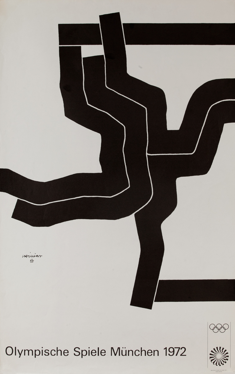 Original Vintage 1972 Munich Olympics Art Series black abstract 2 Poster