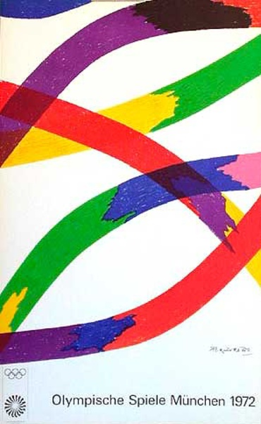 Original Vintage 1972 Munich Olympics Art Series Poster rainbow abstract
