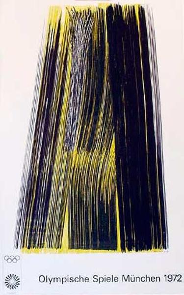 Original Vintage 1972 Munich Olympics Art Series Poster yellow black abstract
