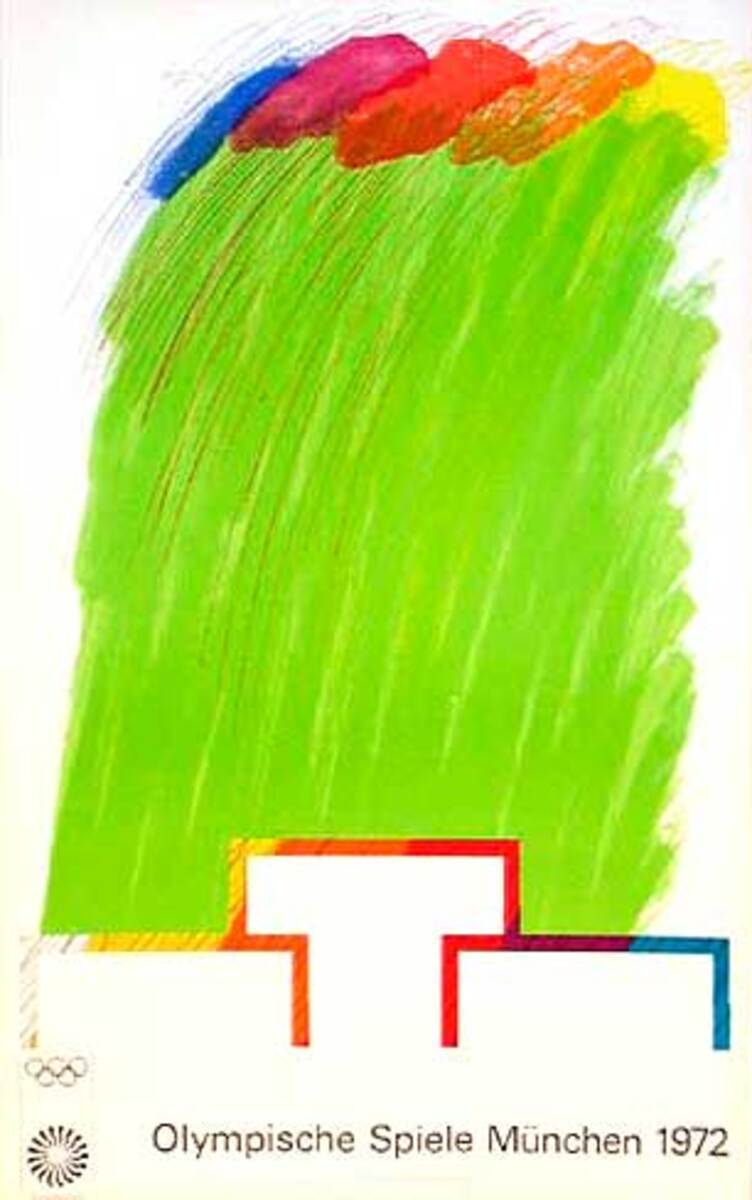 Original Vintage 1972 Munich Olympics Art Series Poster Diecut