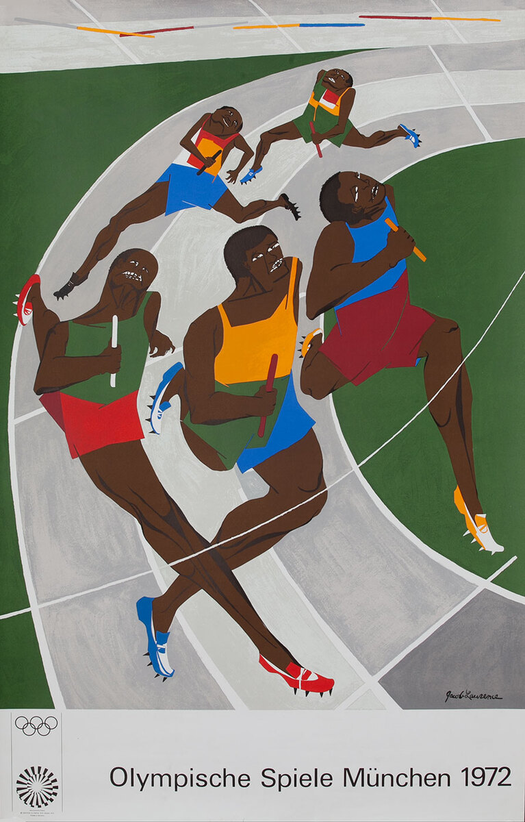 Original Vintage 1972 Munich Olympics Art Series Poster - Jacob Lawrence