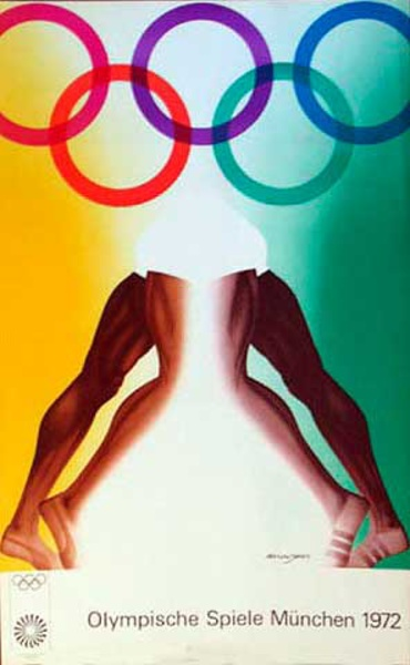 Original Vintage 1972 Munich Olympics Art Series Poster Legs