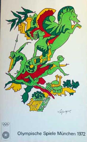 Original Vintage 1972 Munich Olympics Art Series Poster Pegasus
