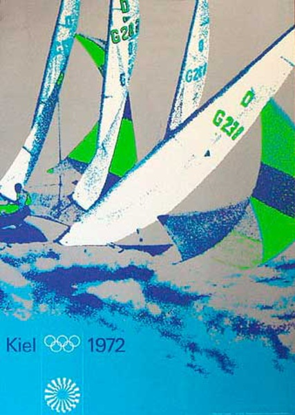 Original Vintage 1972 Munich Olympics Sports Series Poster Yachting