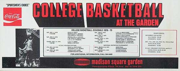 College Basketball At The Garden Original Sports Poster