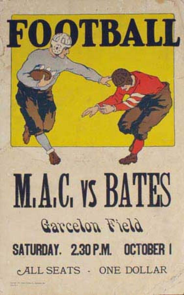 Bates College v M.A.C Football Original Vintage Poster